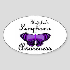 Butterfly 2 Hodgkin's Lymphoma Oval Sticker