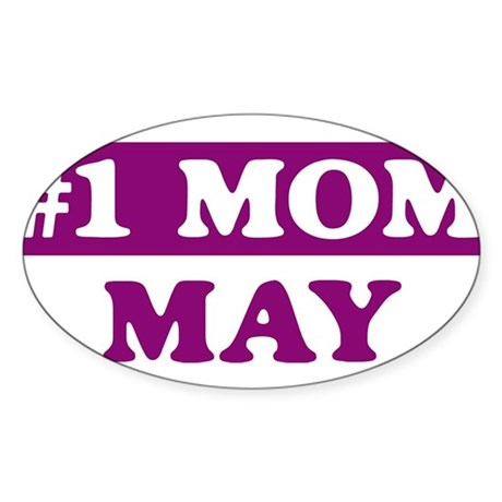 May - Number 1 Mom Oval Sticker