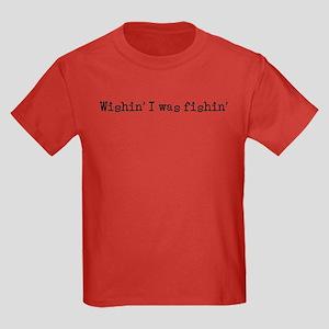 Wishin' I was fishin' Kids Dark T-Shirt