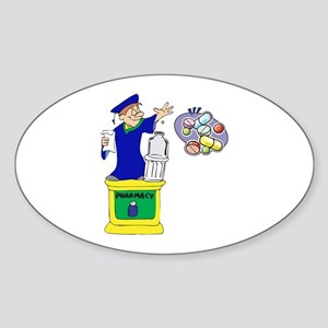 Magical Pharmacist Graduate Oval Sticker