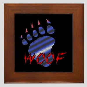 WOOF/LEATHER PRIDE BEAR PAW/B -Framed Tile