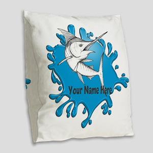 Marlin Art Burlap Throw Pillow
