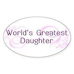 World's Greatest Daughter Oval Sticker (50 pk)