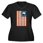 Obama Flag Women's Plus Size V-Neck Dark T-Shirt