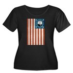 Obama Flag Women's Plus Size Scoop Neck Dark T-Shi