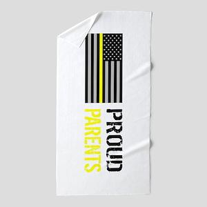 U.S. Flag Yellow Line: Proud Parents ( Beach Towel