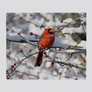 Red Bud Cardinal Throw Blanket