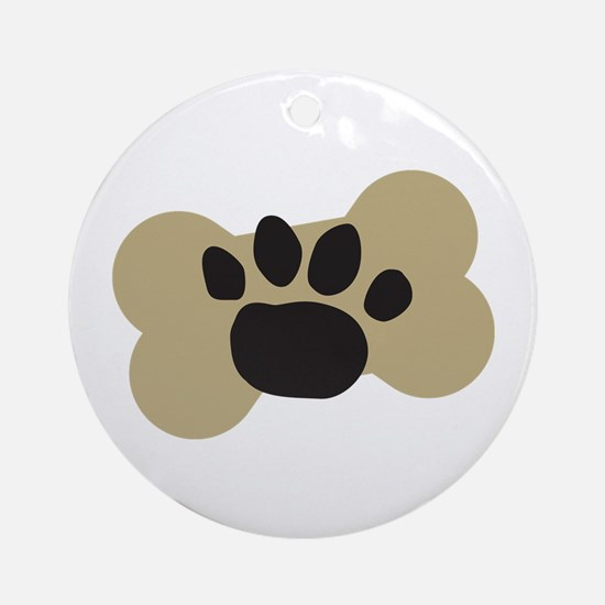 Dog Lover Paw Print Ornament (Round)