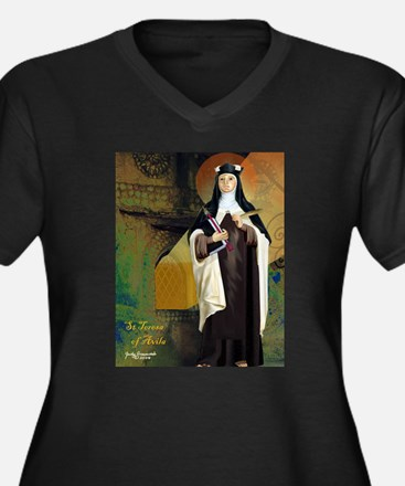 St Teresa of Avila Women's Plus Size V-Neck Dark T
