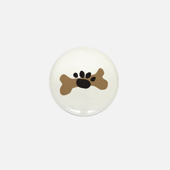 Dog Bone & Paw Print Mini Button