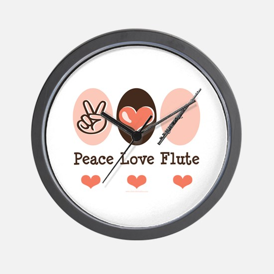 Peace Love Flute Wall Clock