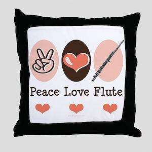 Peace Love Flute Throw Pillow