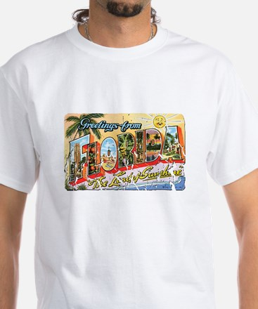 Greetings from Florida Retro White T-Shirt