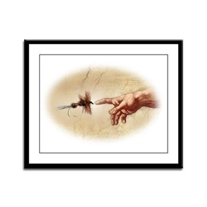 The Creation of fly fishing Framed Panel Print