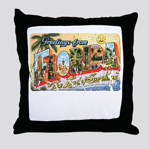Greetings from Florida Retro Throw Pillow