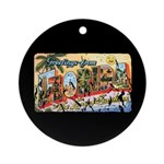 Greetings from Florida Retro Ornament (Round)