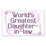 World's Greatest Daughter-in-Law Sticker (Rectangl