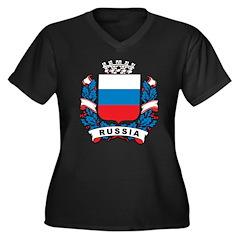 Stylish Russia Crest Women's Plus Size V-Neck Dark