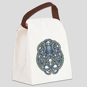 Octopus Emblem Blue Canvas Lunch Bag
