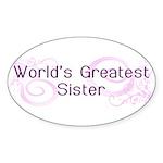 World's Greatest Sister Oval Sticker (50 pk)