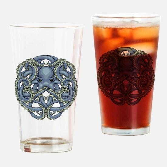 Octopus Emblem Blue Drinking Glass