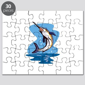 Blue Marlin Fish Jumping Retro Puzzle