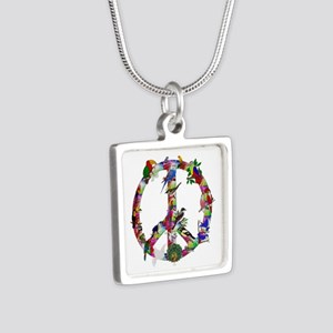 Colorful Birds Peace Sign Silver Square Necklace