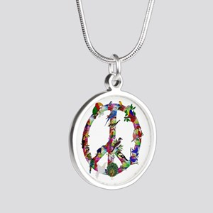 Colorful Birds Peace Sign Silver Round Necklace