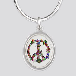 Colorful Birds Peace Sign Silver Oval Necklace