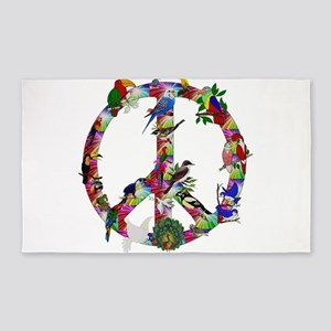 Colorful Birds Peace Sign Area Rug