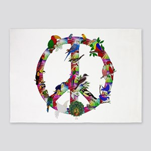 Colorful Birds Peace Sign 5'x7'Area Rug