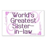 World's Greatest Sister-in-Law Rectangle Sticker