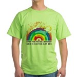 GOD RAINBOW SEX Green T-Shirt