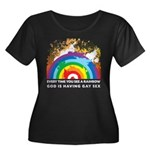 GOD RAINBOW SEX Women's Plus Size Scoop Neck Dark