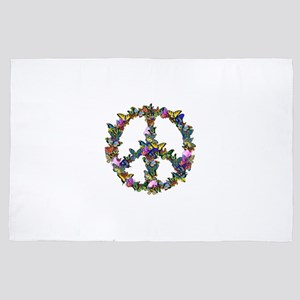 Butterfly Peace Symbol 4' x 6' Rug