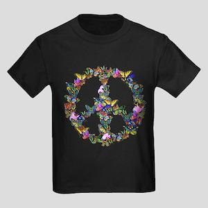 Butterfly Peace Symbol Kids Dark T-Shirt