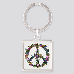 Butterfly Peace Symbol Square Keychain