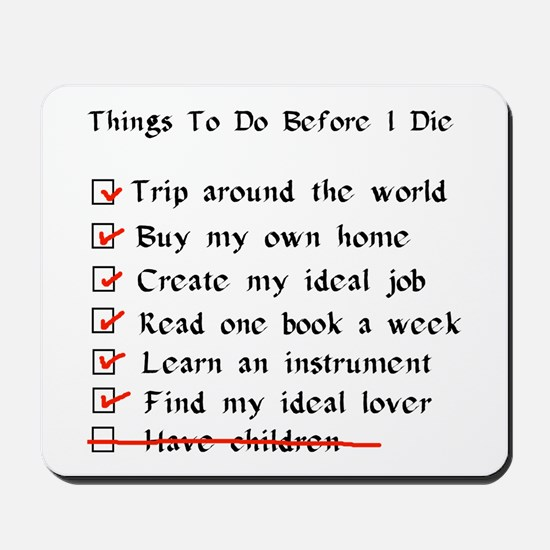 Child-Free Checklist Mousepad