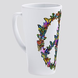 Butterfly Peace Symbol 17 oz Latte Mug