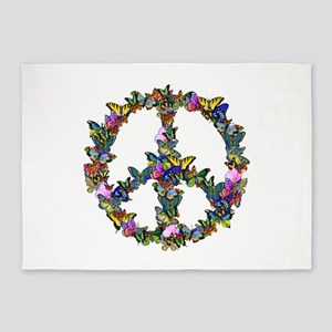 Butterfly Peace Symbol 5'x7'Area Rug