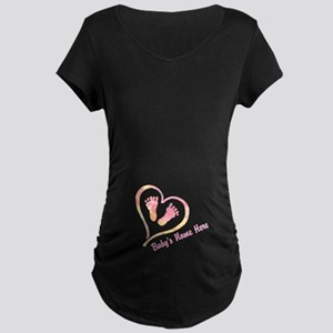 Baby Name And Heart Maternity T-Shirt