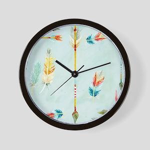 BOHO Bohemian Arrows Feathers Leaf Swir Wall Clock