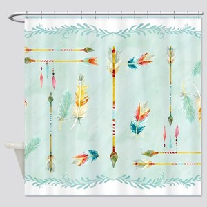 BOHO Bohemian Arrows Feathers Leaf Shower Curtain