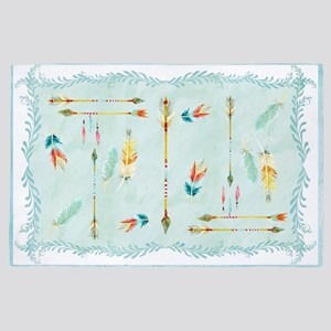 BOHO Bohemian Arrows Feathers Leaf Swi 4' x 6' Rug