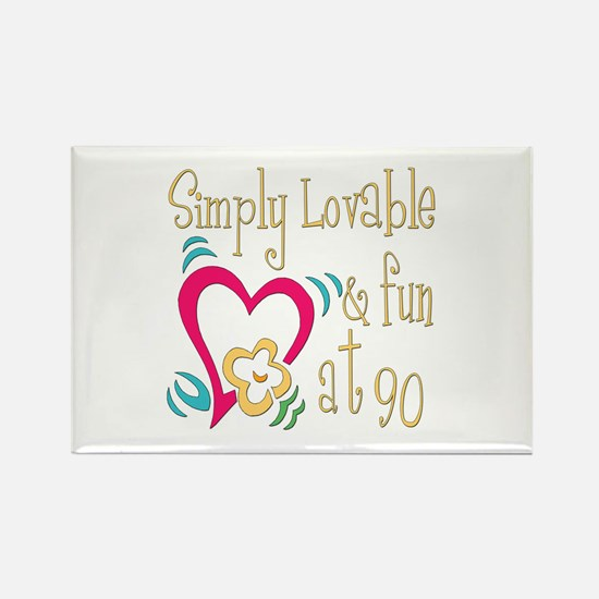 Lovable 90th Rectangle Magnet