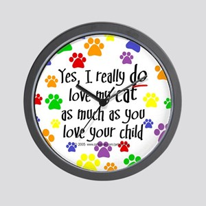Love cat, child Wall Clock