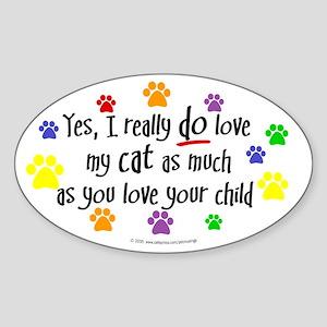 Love cat, child Oval Sticker