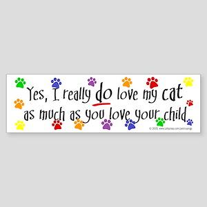 Love cat, child Bumper Sticker