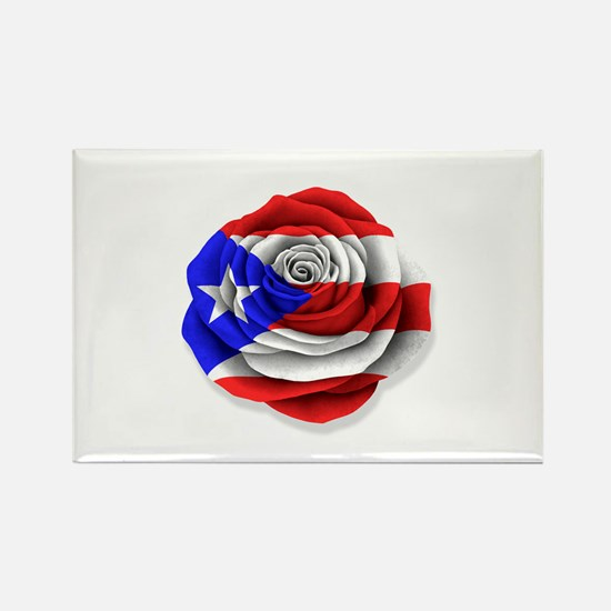 Puerto Rican Rose Flag on White s Magnets