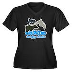 Dolphins Women's Plus Size V-Neck Dark T-Shirt